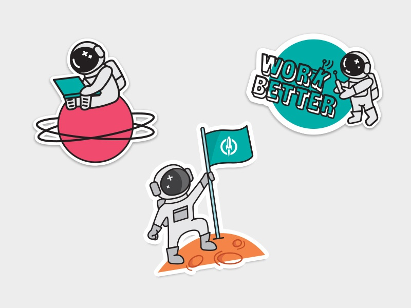 Astronaut Stickers work better planet space astronaut illustration stickers