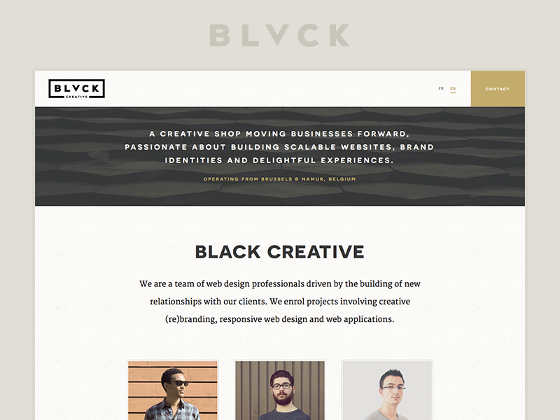 Black Creative website web design classic classy vintage white single page website agency studio team avatar belgium