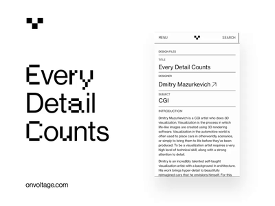 Every Detail Counts white webflow voltage blog mobile layout webdesign brand typography contemporary brutalist