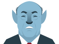 Na'vi Rudy Giuliani in the style of a New Yorker author illo
