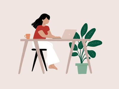 Self Portrait technology woman laptop work from home girl branding motion animation illustration