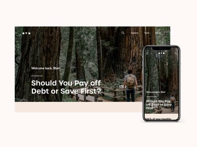 Finance Blog responsive design visual design motion interaction money home buying retirement savings insurance website design finance