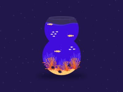 Fishy Eight underwater aquarium fish flat art digital vector typography 36daysoftype illustration