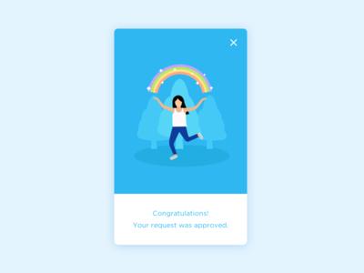 Congrats! joy woman success win submit approval congrats happy rainbow
