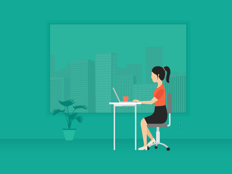 Work work work woman business buildings illustration city skyline desk everyday work girl job