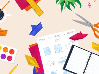 Paper Boats boat journal illustration palette art scissors paper craft origami desk flat lay