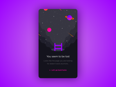 Lost in space mobile meteor ux ui universe stars galaxy planets illustration space error 404