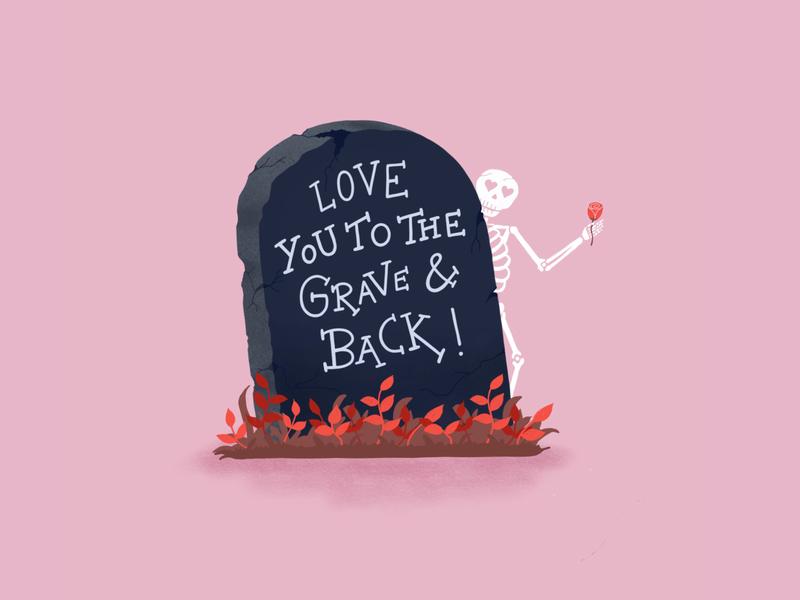 Happy Hallotine Day! pink rose skeleton halloween typography design handlettering illustration homwork