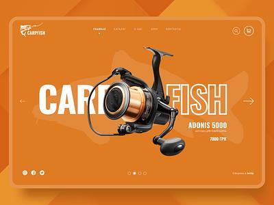 Fishing carp carpfish webdesign website ux ui jetup figma boat scuba diver ocean fisherman fish fishing