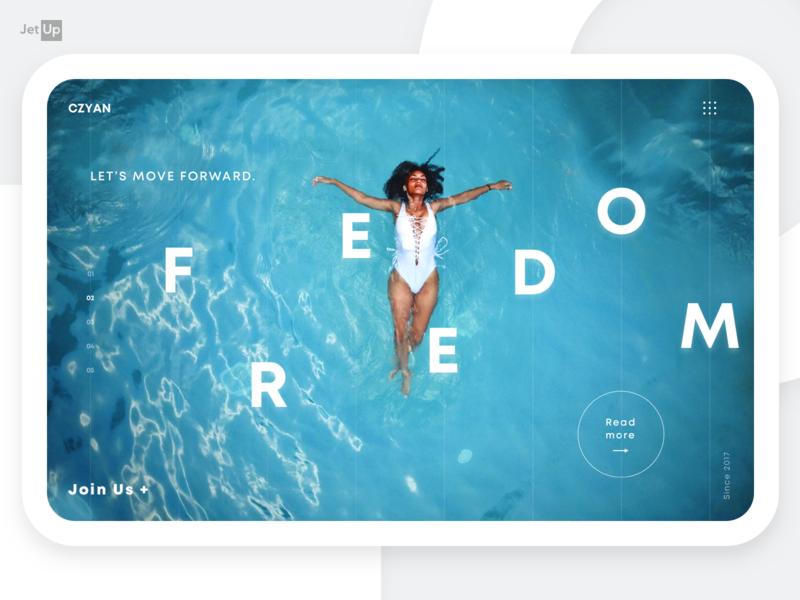 Freedom home page jetup digital design jetup forward weekend sea blue freedom mainpage homepage webdesign website ux ui