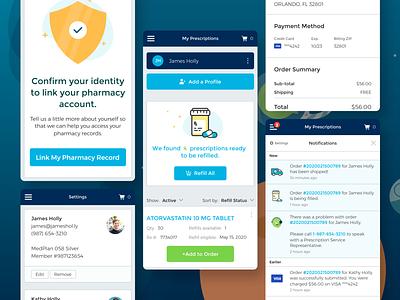 Prescription Medication Management healthcare ecommerce dashboard app web app flat