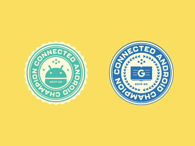 Android Champion Stickers flat icon vector design illustration branding
