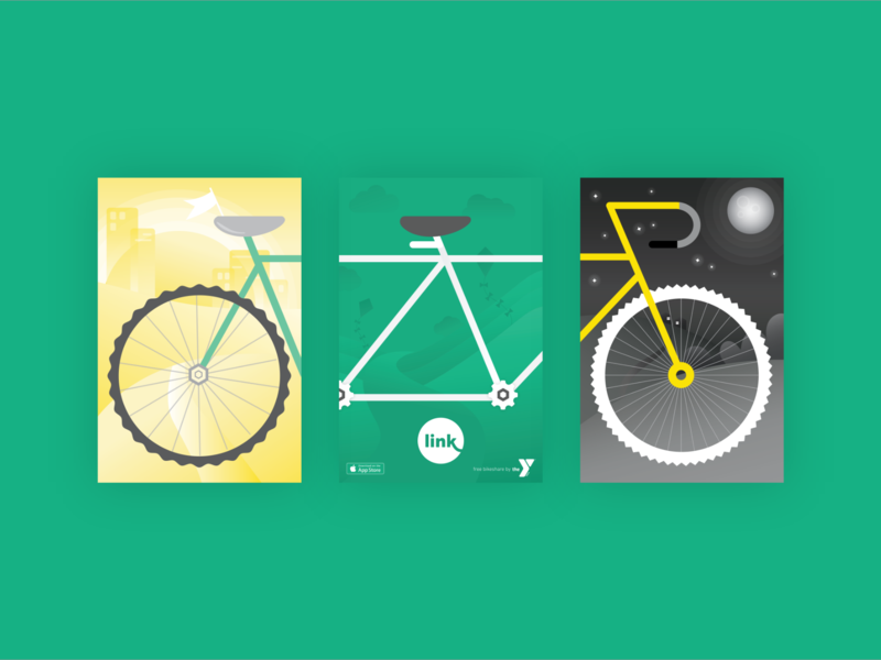 Link bikeshare collaboration ymca day night adventure chain illustration community cycle bike