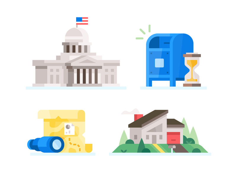 Credit Karma: Misc. Spot Illustrations #2 united states government capitol insights waiting wait spot illustration home buying home finance tax