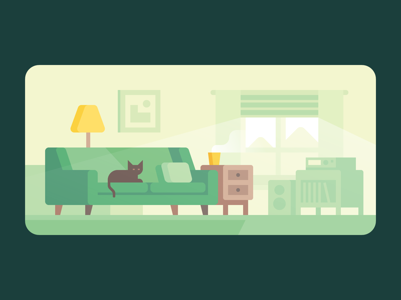 Credit Karma: Relaxing at Home house room coffee afternoon cat sofa couch living room home