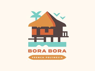 Bora Bora island pacific vacation resort polynesia french polynesia tropical bora bora illustration