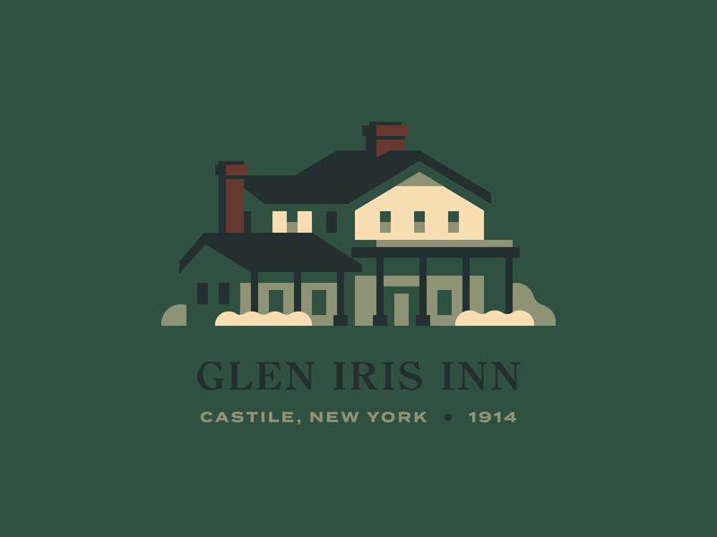 Glen Iris Inn park new york rochester letchworth restaurant hotel inn house illustration