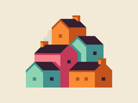 Colorful Town village house illustration abstract city town landscape
