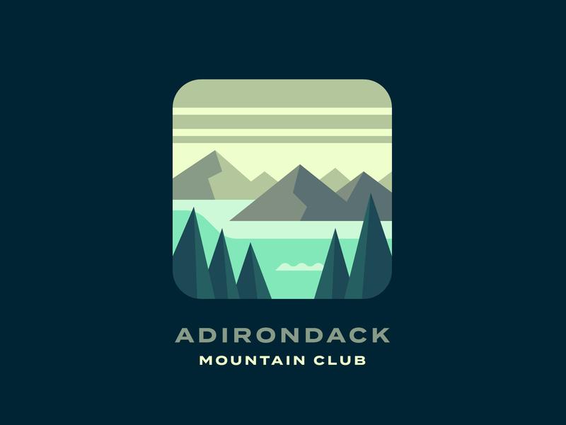 Adirondack Mountain Club (#1) woods lake new york state new york mountains mountain adirondacks landscape forest illustration
