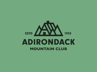 Adirondack Mountain Club woods forest cabin camping hiking branding adirondack mountain logo