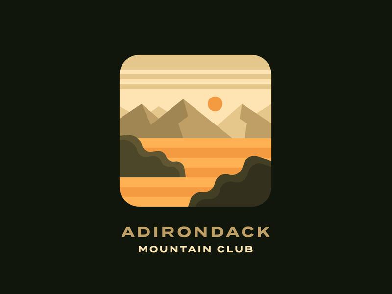Adirondack Mountain Club field farmland farm mountain mountains adirondacks forest illustration landscape
