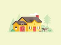 Credit Karma: Home Improvement loan homeowner saw roof ladder diy improvement renovation homepage house landscape illustration