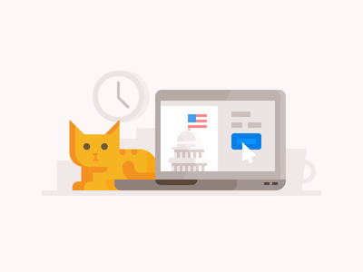 Credit Karma: Filing Taxes on Time software payment file tax state federal kitten cat laptop computer taxes spot illustration