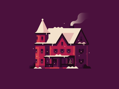 Home for the Holidays (No. 1) home winter snow christmas holidays house town illustration