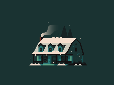 Home for the Holidays (No. 2) illustration town house holidays christmas snow winter home