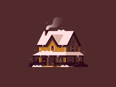 Home for the Holidays (No. 3) winter snow town christmas holidays home house illustration