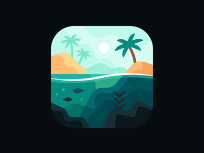 Tides (App Icon) beach palm tree fish fishing rod lake indie game app tropical fishing ocean