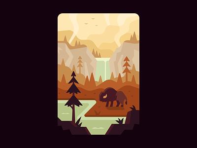 Yellowstone mountains waterfall trail trail mix national park buffalo park forest landscape illustration