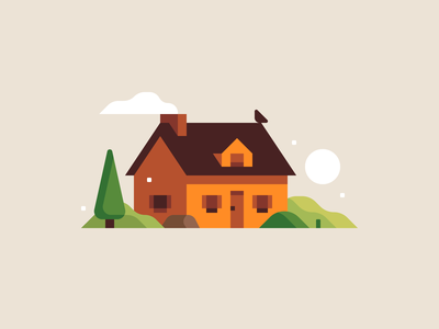 House home landscape design house abstract city town illustration