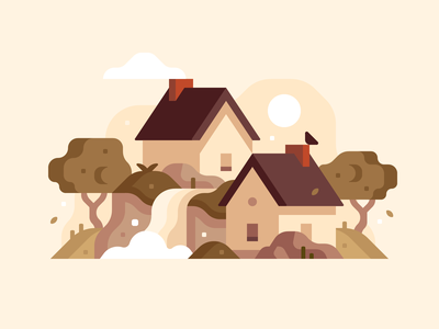 Village small town house forest illustration waterfall landscape village abstract city town