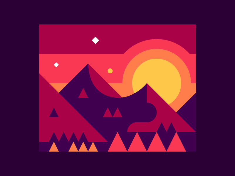 Mountain Sunrise mountains sunrise landscape illustration abstract