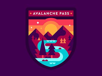 Avalanche Pass - Adirondacks illustration abstract adirondacks mountains badge