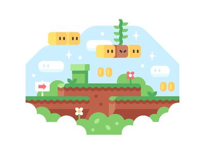 Super Mario World nintendo super mario landscape super mario world illustration