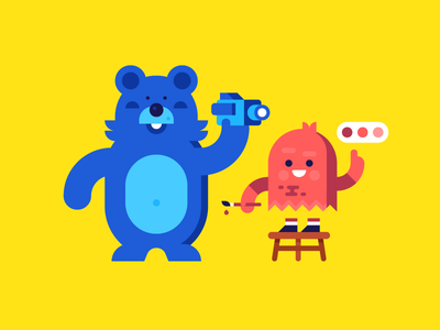 Bleu and Spooks ghost bear character design illustration characters