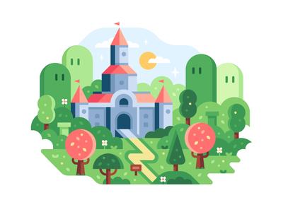 Game Worlds: Kingdom mario super mario nintendo game worlds print landscape town illustration