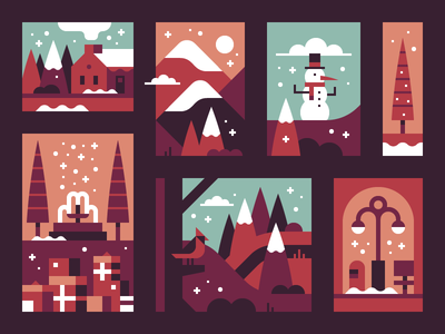 2017 Holiday Card (wip) forest landscape illustration greeting card holiday season holiday winter christmas christmas card