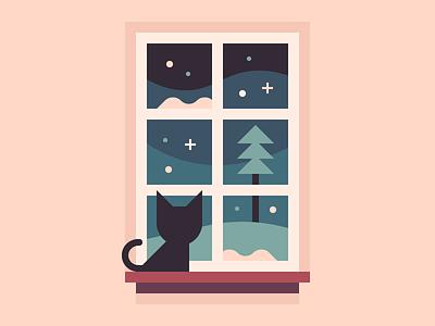 Watching Winter window winter cat illustration print