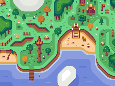 Coastal Sheikah Tower - Discord Overworld Mural minecraft map coast beach teasure zelda video game mario nintendo forest discord