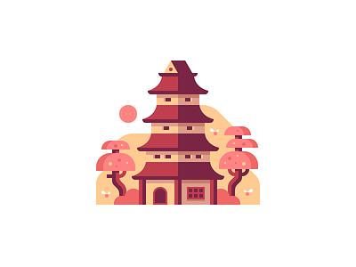 Pagoda building illustration pagoda