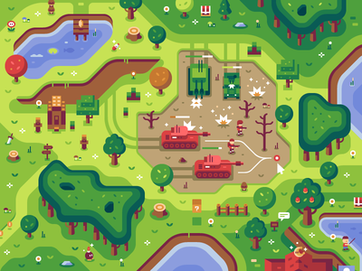 Command & Conquer - Discord Overworld Mural forest illustration animal crossing minecraft rts command  conquer cc nintendo