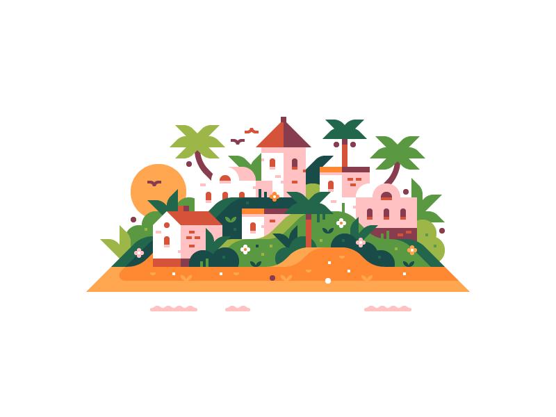 Paradise village print town tropical island
