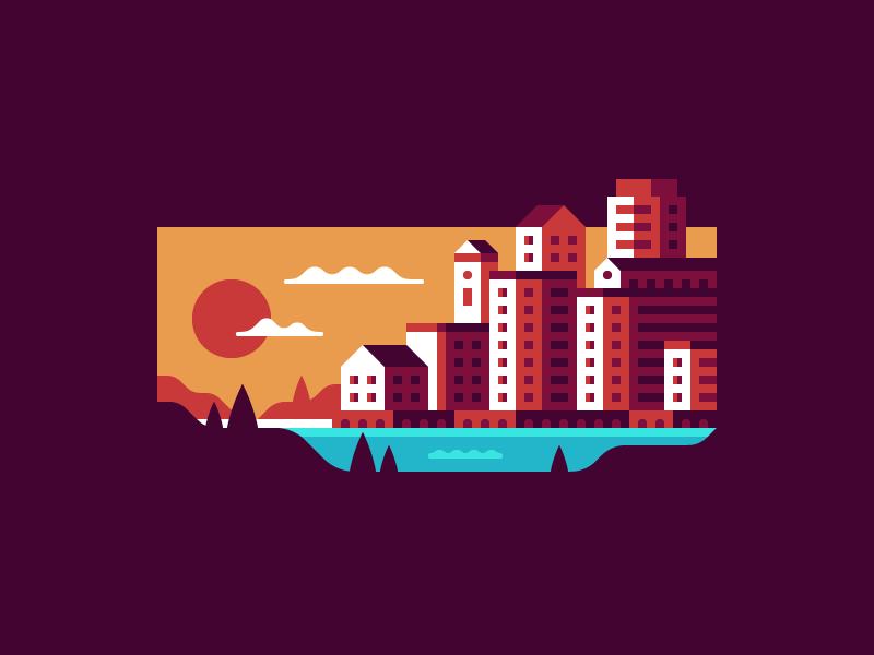 Ocean View sunset skyline city ocean