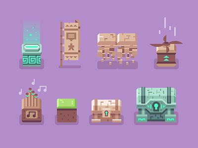 Brave Explorers - Blocks + Chests flag asset block pixel art sprite treasure chest video game