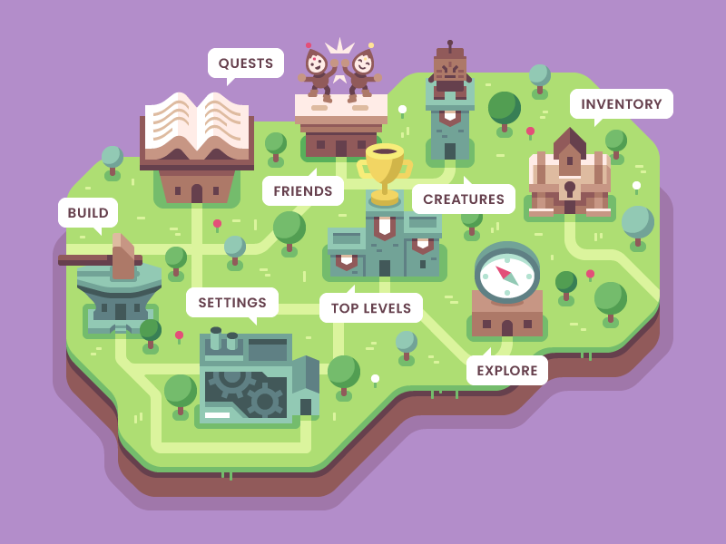 Brave Explorers Menu settings quests town overworld map menu video game