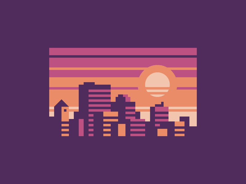 Purple City town sunset skyline city