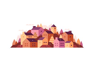 Hillside Town #3 hills trees city town landscape illustration